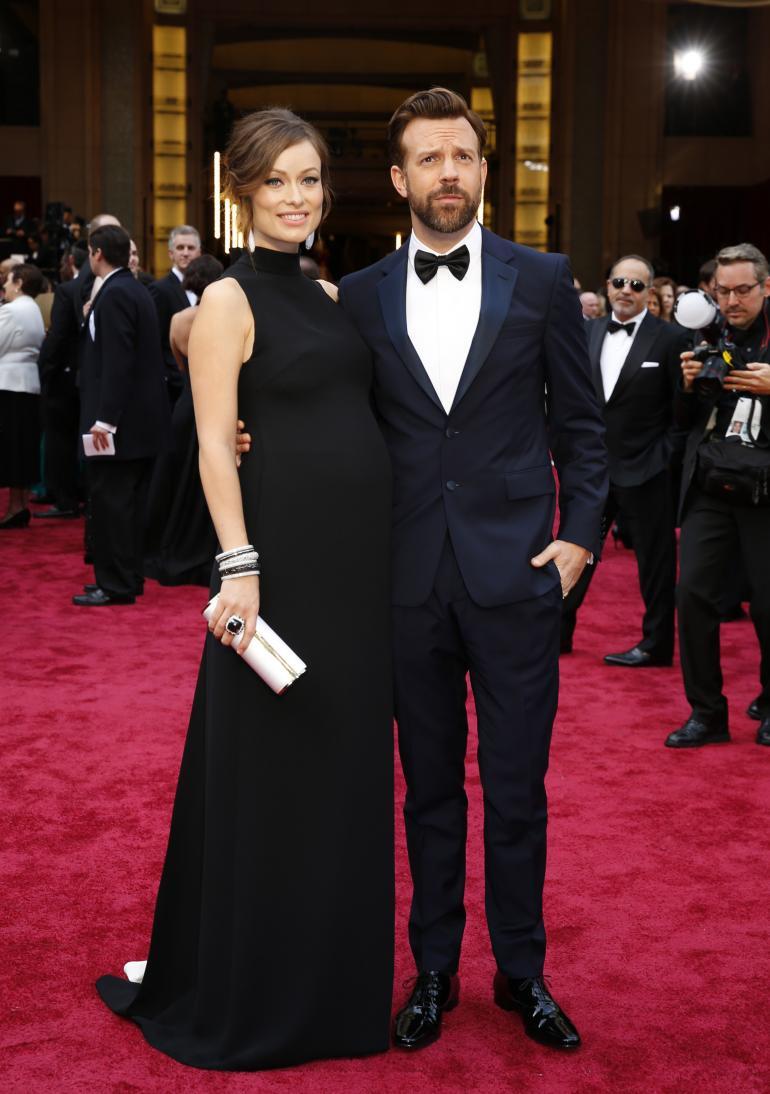 Olivia Wilde in Valentino, with Jason Sudekis