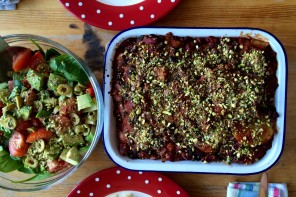 Aubergine and Sweet Potato Bake with Pistachio Crumb