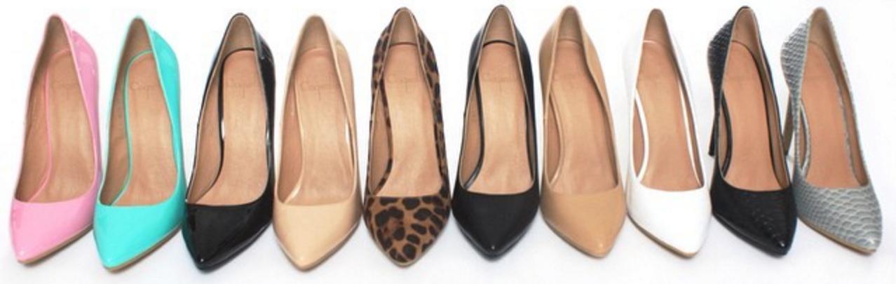 Coquette heels come in ten color finishes: pink, aqua, black, nude, leopard, patent black, patent nude, patent white, reptile black, and reptile grey.