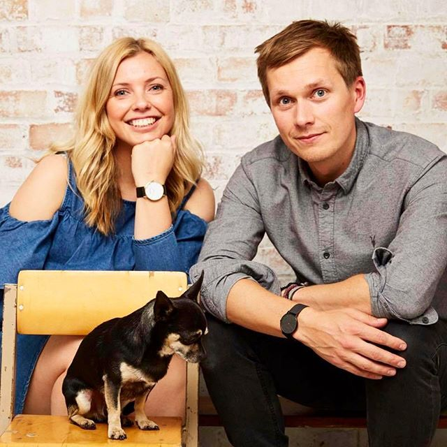 Votch founder Laura Stageman, her photographer fiancé, and her dog Rolo.