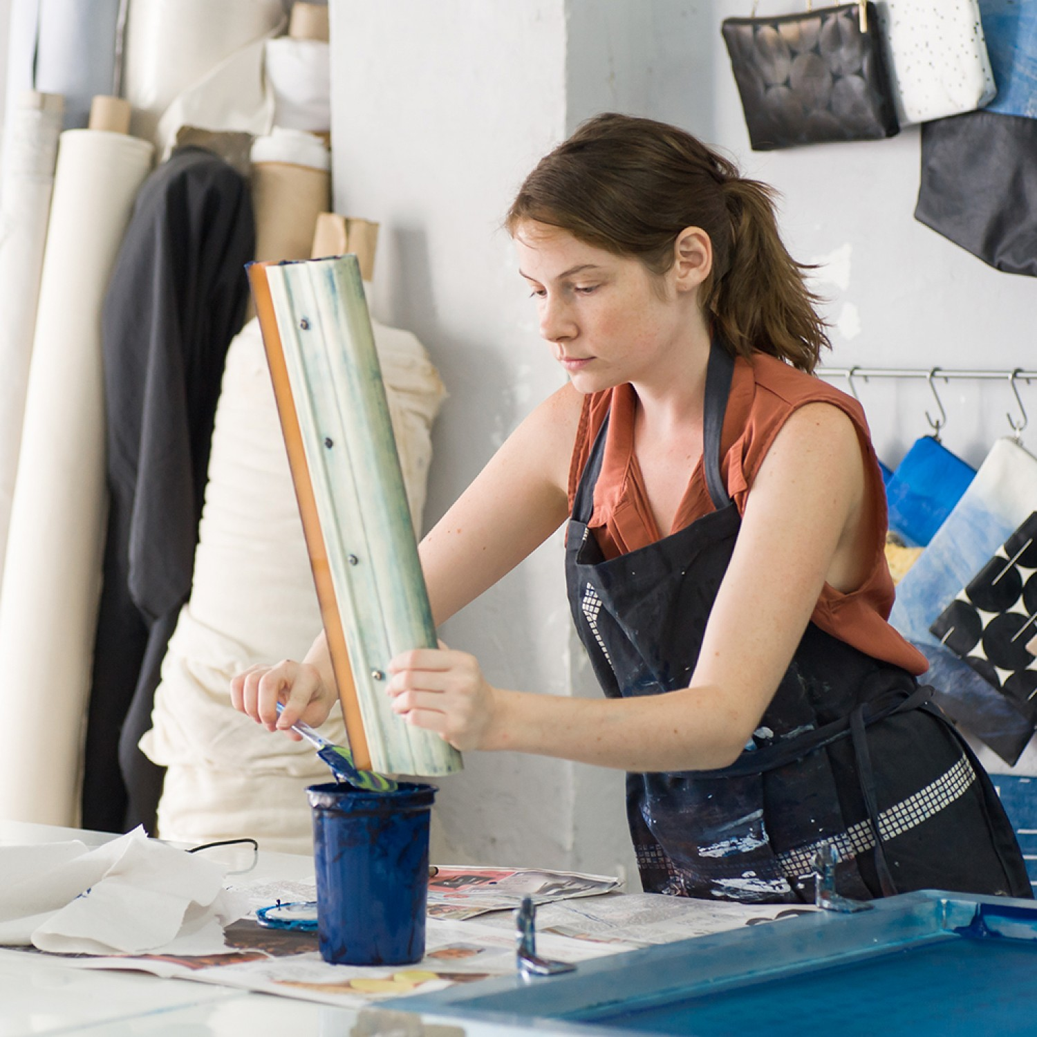 Lee Coren handcrafts her pieces using a unique screen printing technique.