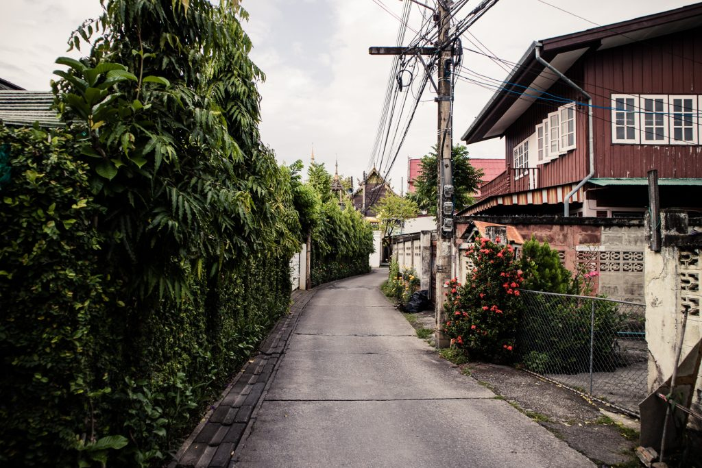 A backstreet in a residential area of central Chiang Mai.
