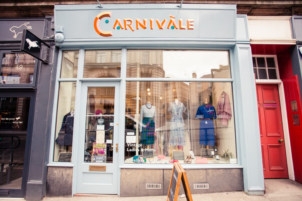 Shop front of Carnivale vintage in Edinburgh.