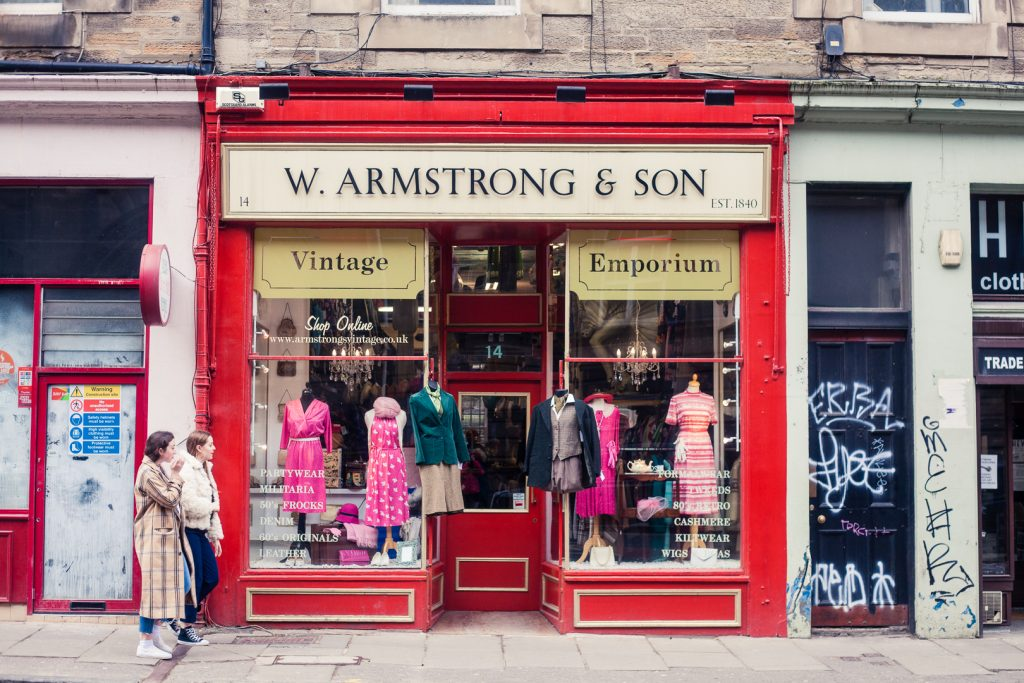 Ethical edinburgh where to shop and eat guided by a local shop front of one of the armstrongs vintage shops in edinburgh fandeluxe Choice Image