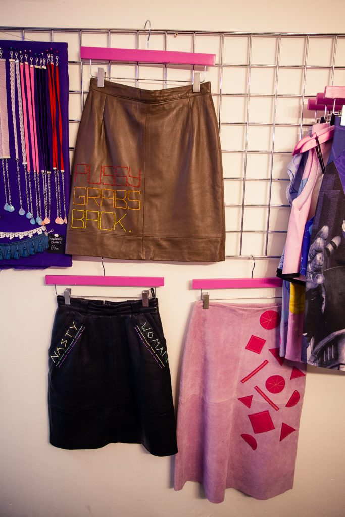 Upcycled skirts by Thrifty Little at Ladyboss Collective in Edinburgh.