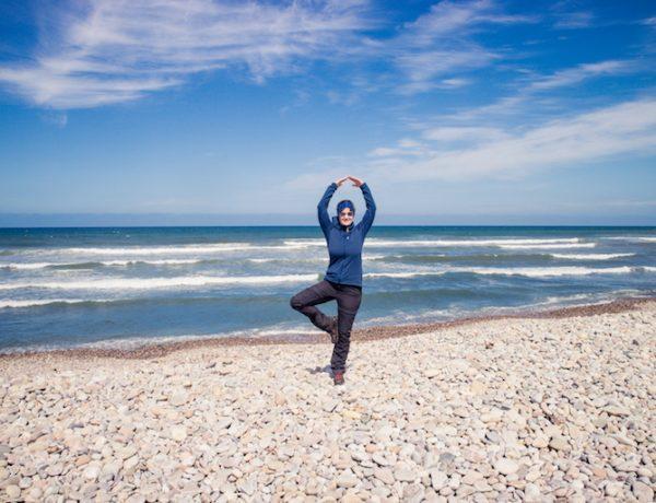 Yoga on the beach in Scotland.