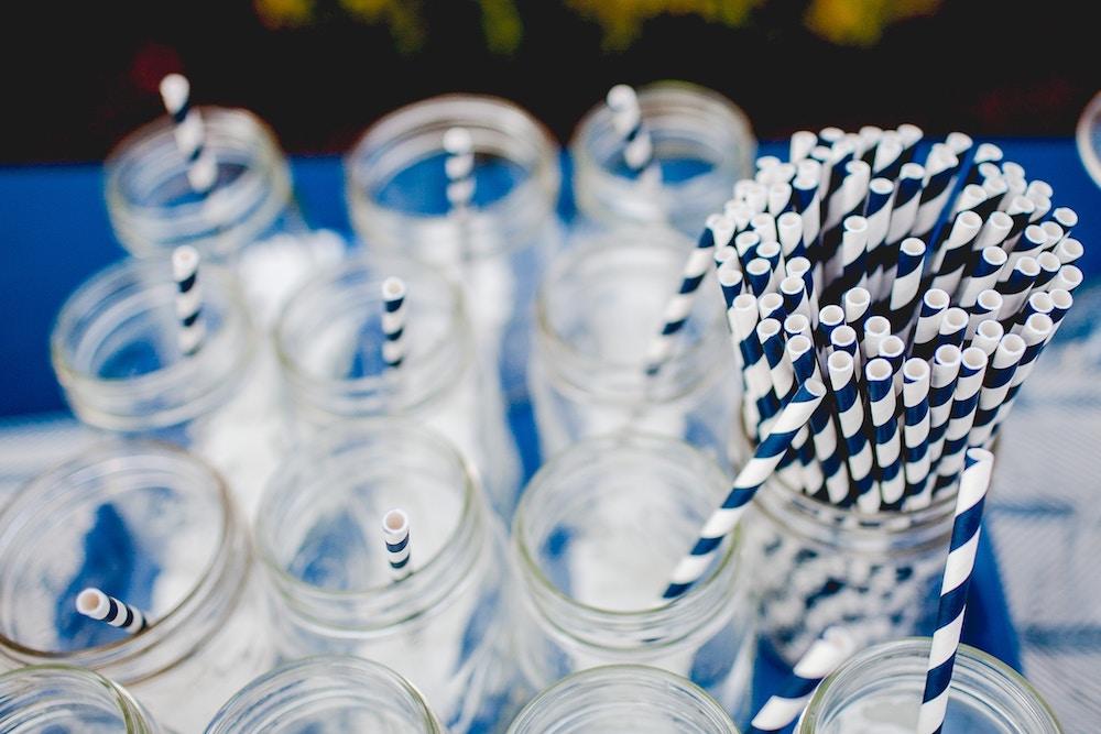 Eco Friendly Glass Jars with Paper Straws